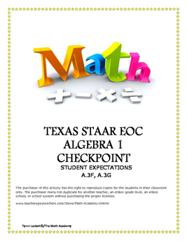 STAAR ALGEBRA 1 EOC CHECKPOINT - A.3F & A.3G