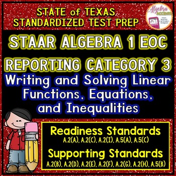 STAAR ALGEBRA 1 EOC Reporting Category 3 TEST PREP