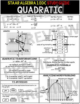 STAAR ALGEBRA 1 EOC STUDY GUIDE: Quadratic Functions