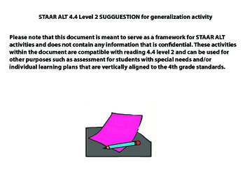 STAAR ALT READING 4.4 level 2 (activity 2) SUGGESTION