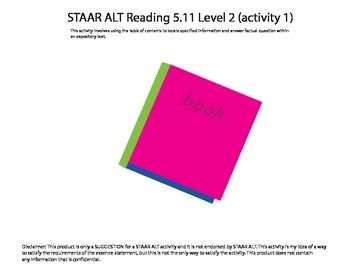 STAAR ALT Reading 5.11 Level 2 (activity 1) SUGGESTION