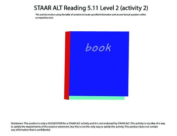 STAAR ALT Reading 5.11 Level 2 (activity 2) SUGGESTION
