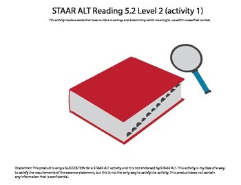 STAAR ALT Reading 5.2 Level 2 (activity 1) SUGGESTION