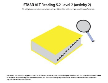 STAAR ALT Reading 5.2 Level 2 (activity 2) SUGGESTION