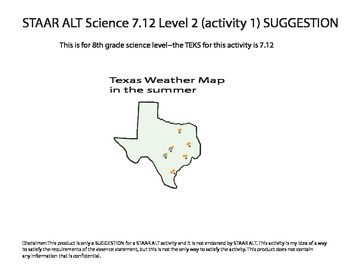 STAAR ALT SCIENCE 8th grade level 2 (activity 1) reporting category 4 SUGGESTION