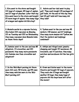 STAAR Addition & Subtraction Review Word/Story Problem Task Cards 3rd Grade 3-5