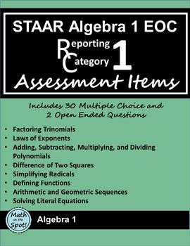 STAAR Algebra 1 EOC Reporting Category #1 Assessment Items