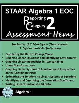 STAAR Algebra 1 EOC Reporting Category #2 Assessment Items