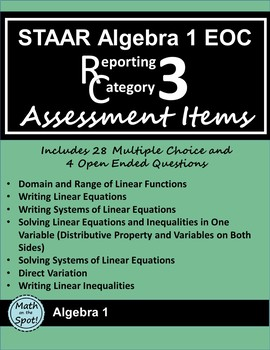 STAAR Algebra 1 EOC Reporting Category #3 Assessment Items