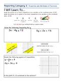 STAAR Algebra I Guided Notes- Reporting Category 2