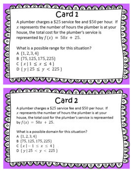 STAAR/EOC Algebra I Task Cards A.2A Domain and Range