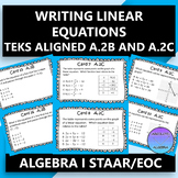 STAAR EOC Algebra 1 Task Cards A.2B and A.2C Writing Linear Equations