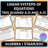 STAAR EOC Algebra 1 Task Cards A.2I and A.5C Systems of Linear Equations