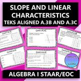 STAAR/EOC Algebra I Task Cards A.3C and A.3B Linear Charac