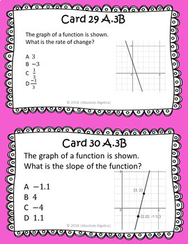STAAR/EOC Algebra I Task Cards A.3C and A.3B Linear Characteristics and Slope