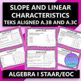 STAAR EOC Algebra I Task Cards A.3C and A.3B Linear Characteristics and Slope