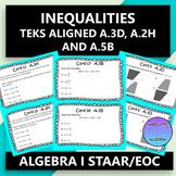 STAAR EOC Algebra I Task Cards A.3D, A.2H, and A.5B Inequalities