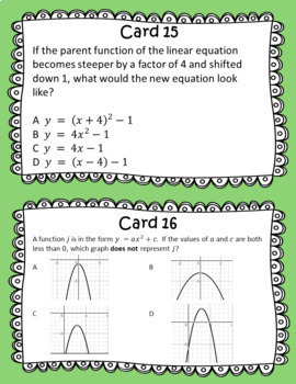 STAAR/EOC Algebra I Task Cards A.3E and A.7C Transformations