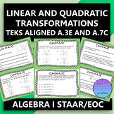 STAAR EOC Algebra 1 Task Cards A.3E and A.7C Transformations