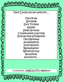 STAAR/EOC Algebra I Task Cards A.7A Analyzing Quadratics