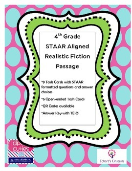 STAAR Aligned 4th Grade  Reading Passage with Task Cards and QR Codes