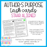 STAAR Aligned Author's Purpose Task Cards (Print + Digital