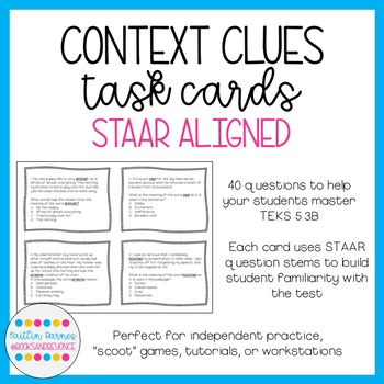 5th Grade Reading STAAR Aligned Context Clues Task Cards (5.2B)