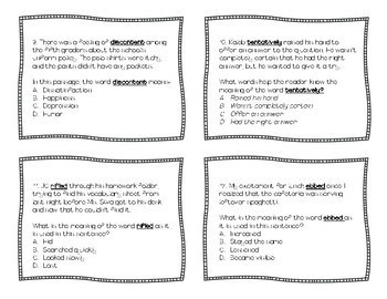 Context Clues Task Cards: Volume 1! (STAAR Aligned; TEKS 5.2B and 4.2B)