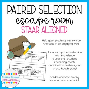 STAAR Aligned Paired Selection Escape Room--Biography, Literary Nonfiction