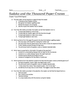 STAAR Aligned Quiz for Sadako and the Thousand Paper Cranes-Chapter 7