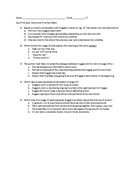 STAAR Aligned Wonder Quiz-The Deal, Home and First Day Jitters-pages 31-37