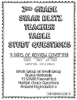 2018 STAAR Blitz - Review Questions: Teacher Table Questions for 3rd Grade