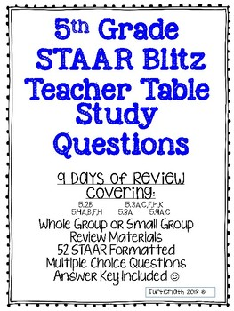 2018 STAAR Blitz - Review Questions: Teacher Table Questions for 5th Grade
