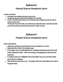 STAAR Category 1 Vocabulary Review Kaboom Game!