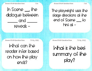 STAAR Drama Question Stem Cards - 7th Grade