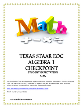 STAAR ALGEBRA 1 EOC CHECKPOINT - A.2A
