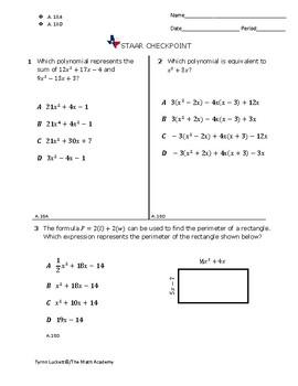 STAAR EOC Algebra 1 – Checkpoint A.10A & A.10D