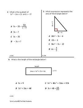 STAAR EOC Algebra 1 – Checkpoint A.10B & A.10C