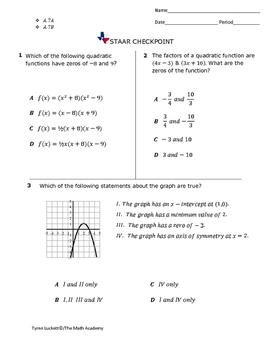 STAAR EOC Algebra 1 – Checkpoint A.7A & A.7B