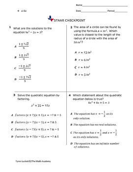STAAR EOC Algebra 1 – Checkpoint A.8A