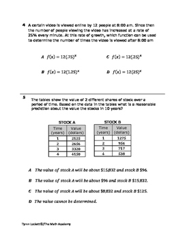 STAAR EOC Algebra 1 – Checkpoint A.9C & A.9E