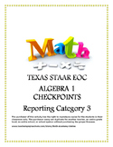 STAAR EOC Algebra 1 – Reporting Category 3 Checkpoint Bundle