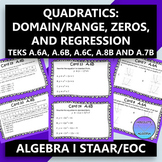 STAAR/EOC Algebra I Task Cards A.6A,B,C, A.7, and A.8B Quadratics