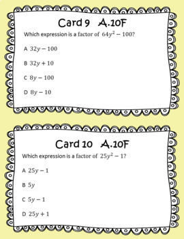 STAAR/EOC Algebra I Task Cards A.8A, A.10E, and A.10F Factoring and Solving