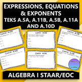 STAAR EOC Algebra 1 Task Cards: Equations, Expressions, Exponents
