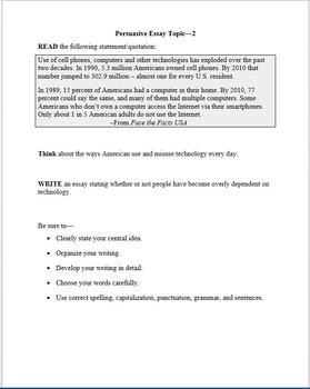 STAAR EOC English 10 Persuasive Essay Prompt - Tech
