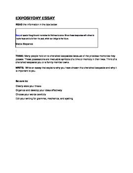 STAAR EOC Expository Essay - Cherished Keepsakes