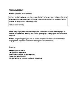 STAAR EOC Persuasive Essay - Bullying