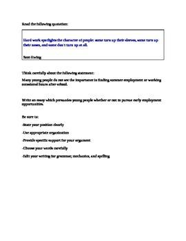 STAAR EOC Persuasive Essay - Teen Emplyment