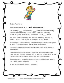 STAAR Encouragement Letter